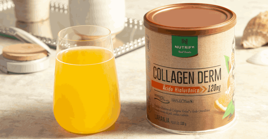 Copo com Collagen Derm sabor Laranja ao lado do produto