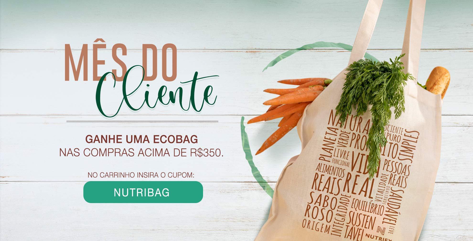 Nas compras acima de R$ 350,00 ganhe uma ecobag - Setembro